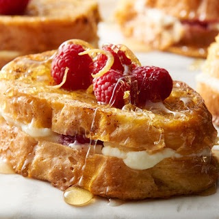 Lemon-Raspberry Ricotta Baked French Toast for Two.