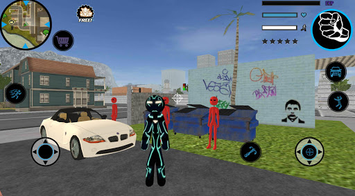 Neon Iron Stickman Rope Hero City Gangstar Mafia screenshot 5