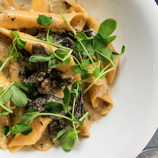 Spring Garganelli with Morels and Peas.