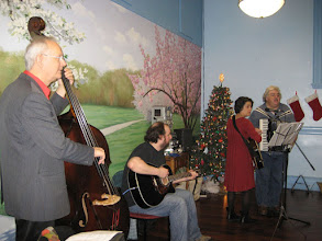 Photo: At the December holiday party, the band kept everyone on their feet, singing, clapping, and smiling. Thanks to  Ismail Butera on accordion with Deborah Karpel singing and Barry Dobrin on guitar, and Dave Hofstra on bass.