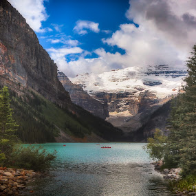 Brilliant Lake Louise by Monte Arnold - Landscapes Travel ( lake louise, sentimental, alberta, canada, beautiful, lake, travel, landscape, photo, amazing, getoutthere, get out there, banff national park, canadian, nostalgia, memories )