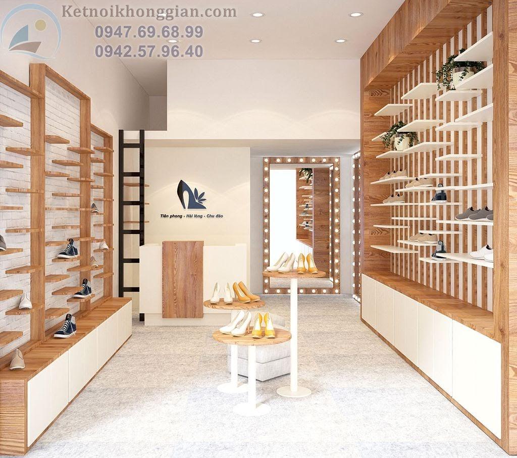 thiết kế cửa hàng giày dép lịch sự