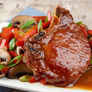 Miso Honey Bone-in Pork Chops With Pepper-Mushroom Stir Fry