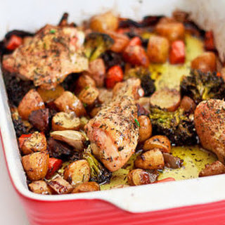 Chicken Roasted on a Bed of Vegetables