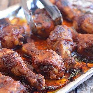 Sweet and Spicy Sriracha-Hoisin Glazed Chicken Drumsticks.