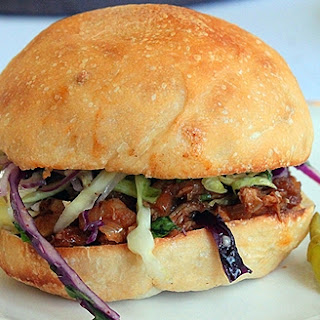 Pulled Pork Sandwiches and Coleslaw.