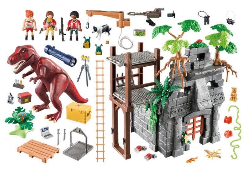 Contenido Real de Playmobil® 9429 Campamento Base con T-Rex