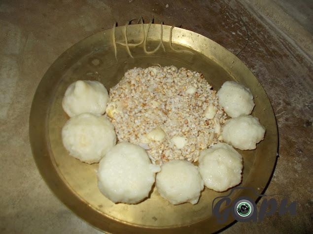 Chanda made from Manda pitha and Khai or Lia in Kumara Purnmia