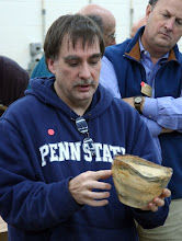 Photo: Tim Aley discusses his NE maple bowl.