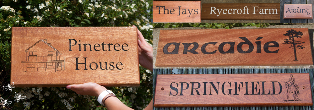 Sapele provides a mahogany style look to a wooden house sign, made at The Sign Maker.
