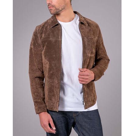 Jofama Clark zipped suede shirt jacket tobacco