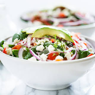 Red Pepper Feta Spinach Salad with Dill Vinaigrette.