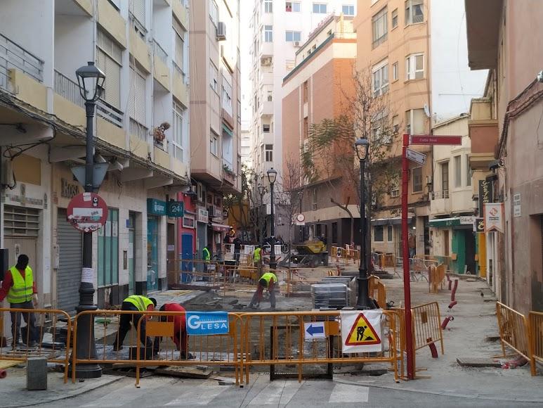 Calle Trajano en pleno proceso de obras