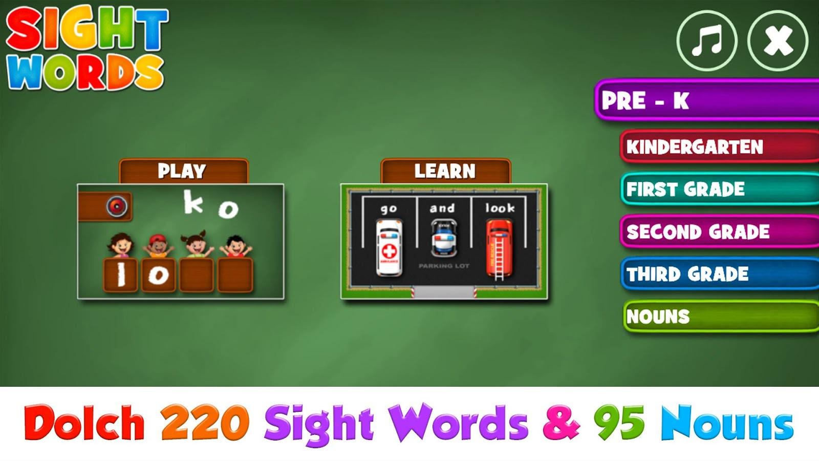 Color games for pre k - Sight Words Pre K To Grade 3 Screenshot