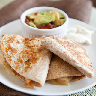 Cheese And Chicken Quesadillas With Caramelized Onions