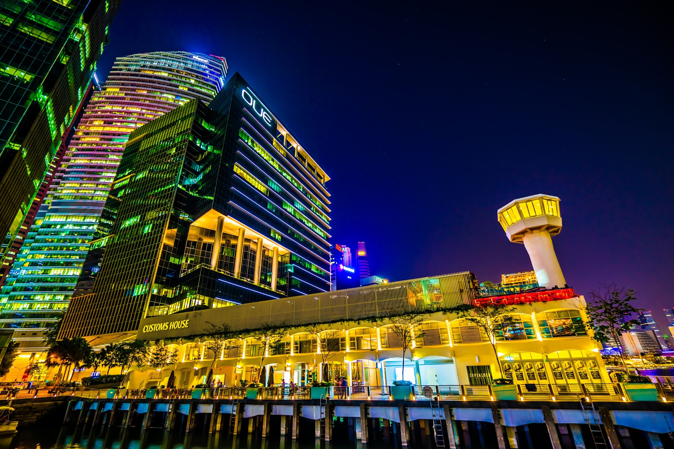 シンガポール カスタムハウス 夜景