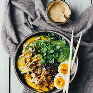 Black Rice Noodle Bowl w/ Roasted Squash and Creamy Miso Dressing