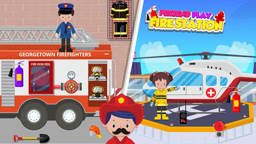 Pretend Play Fire Station: Town Firefighter Story android2mod screenshots 2