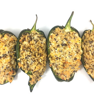 Cheesy Brown Rice Stuffed Poblano Peppers