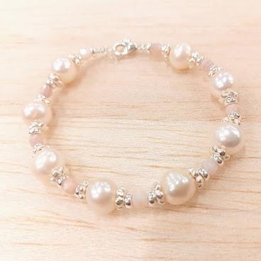 珍珠配紫貝純銀手鏈
