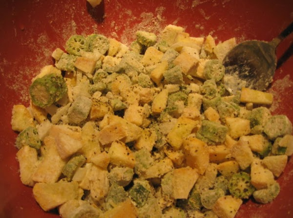 If the vegetables aren't sufficiently covered upon stirring, you may add more flour one...