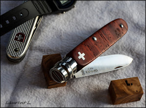 """Photo: Opinel custom n°123 http://opinel-passions-bois.blogspot.fr/ """"Tribute to Victorinox"""""""