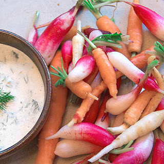 Yogurt, Lemon, And Herb Dip With Baby Carrots And Radishes
