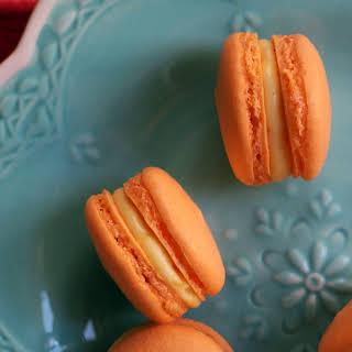 Mango White Chocolate Ganache Macarons.