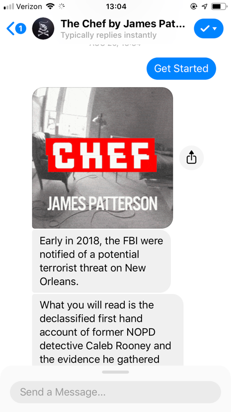 popular chatbots chef james patterson bot