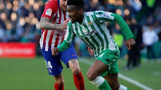 Kaptoum en un partido con el Betis ante el Atlético de Madrid.