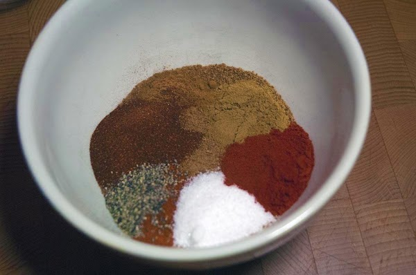 Add all of the dry rub ingredients to a small mixing bowl.