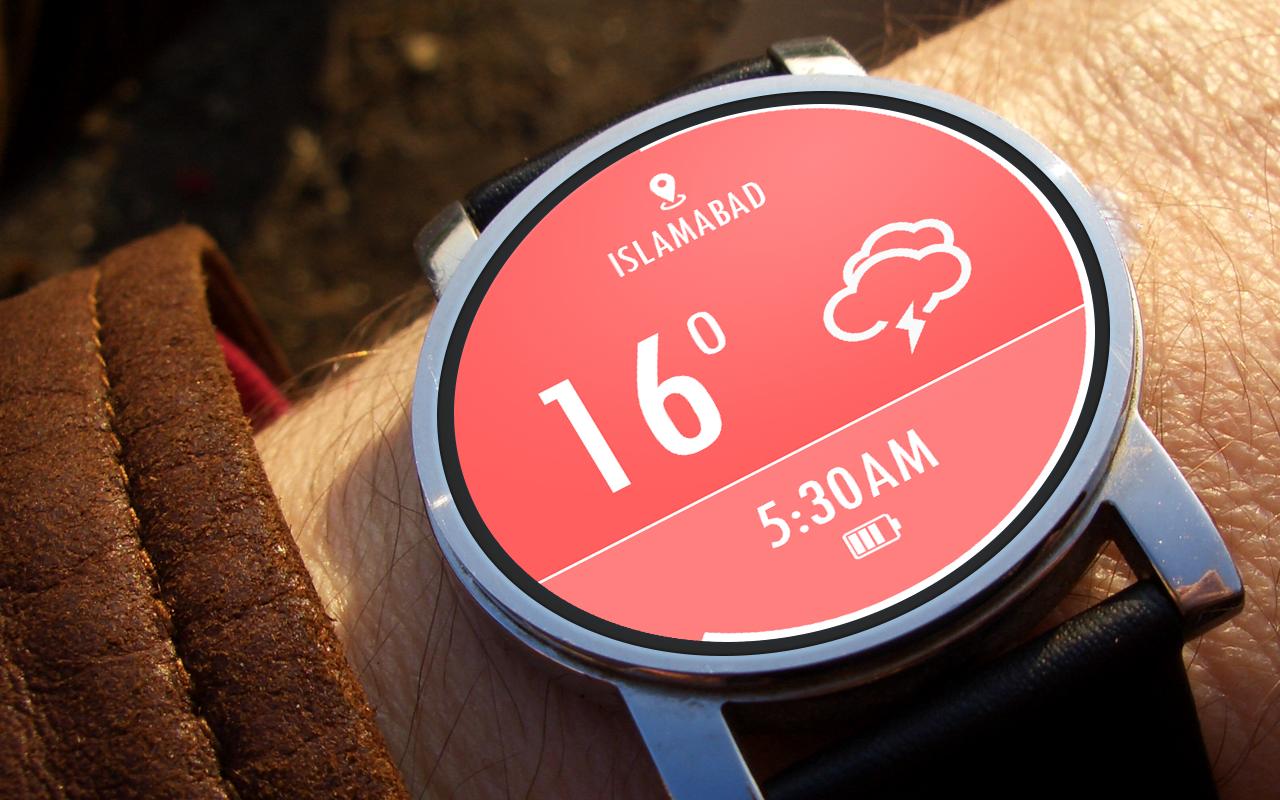 Designer android wear watchface - Weather Watch Face Screenshot