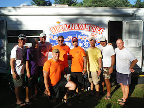 Photo: Day 53 August 10 Bennington To Brattleboro VT In KOA of North Brattleboro, Dave befriends a group of New England Army recruiters who had served in Iraq and Afghanistan. From left Pat, Ed, Jim, Jake, ?, Rambo, Jerome, Dale, Tom.