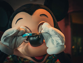 Photo: *Mickey Mouse Tries Google Glass*  He loves it!  See the big smile on his face! :)  Hehe… we're having a great time here on the Disney cruise to Alaska…  Going to see Tracy Arm today and some glaciers, so will be exciting!  Also, I saw some people here from the Google+ Austin Photowalk too -- in fact, we're re-enacting the photo walk on Deck 9 right now! :)