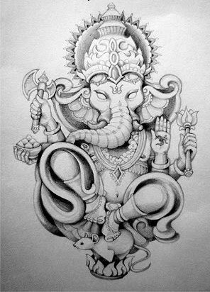 An angry ganesha tattoo sitting on mouse