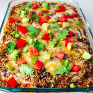 Easy Quinoa Enchilada Casserole.