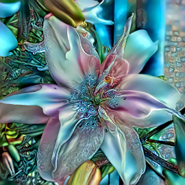 Lily blue abstract by Cassy 67 - Digital Art Things ( digital, love, harmony, abstract art, photo manipulation, photoshop, abstract, lilies, digital art, flower, light, lily, deep dream, photography, energy )