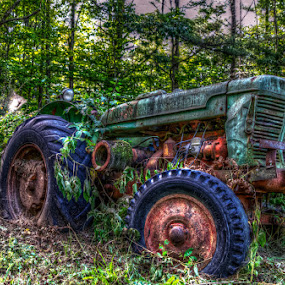 Take You For A Ride On My Big Green Tractor... by Chris Cavallo - Transportation Other ( wheels, rust, green, tractor, rusty, decay, abandoned,  )