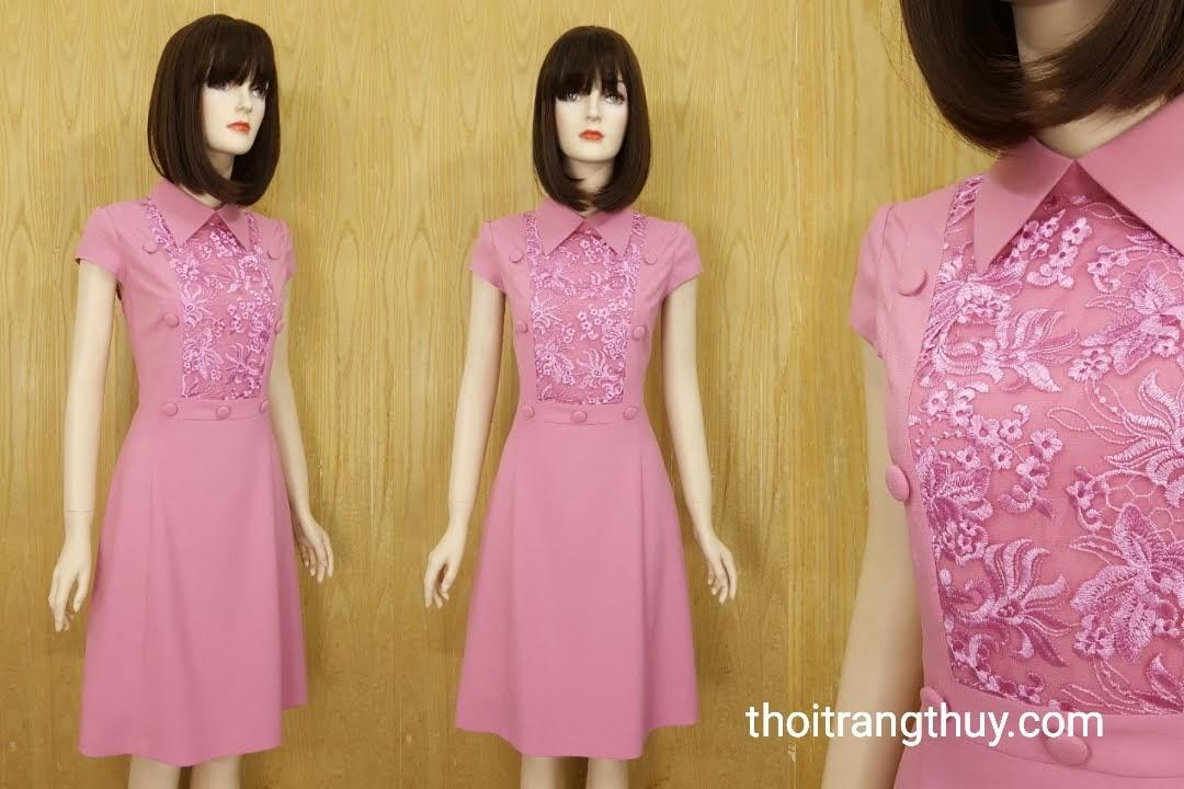 Váy xòe công sở phối ren hồng thạch anh V582 tại hải phòng