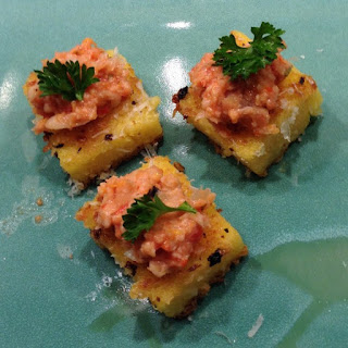 Polenta Crispy Croutons with Southern Style Pimento Cheese