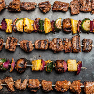 Beef and Vegetable Shish Kebabs.