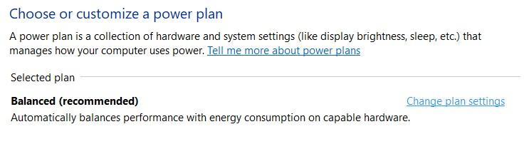 The Change plan settings in the Control Panel power options