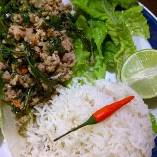 Thai Basil Chicken Lettuce Wraps with Holy Basil.