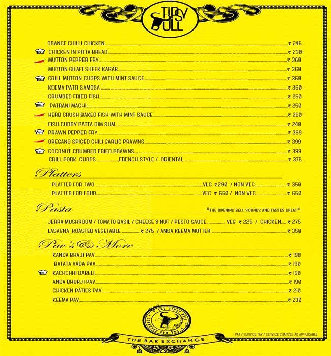 Tipsy Bull menu 4