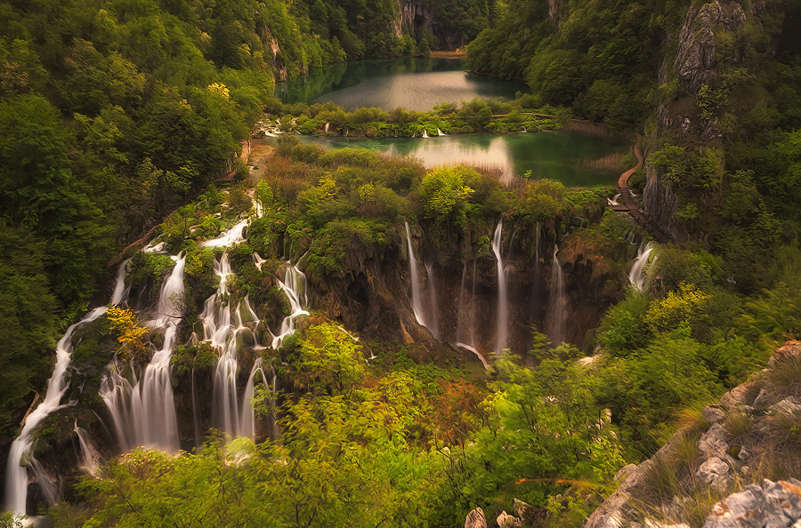 Croatian beauty by Ivan Prebeg - Landscapes Waterscapes ( water, europe, unesco world heritage site, blurred motion, tourism, lake, forest, travel, scenic, landscape, spring, travel destination, national park, european, nature, season, tree, horizontal, long exposure, plitvice lakes national park, river )