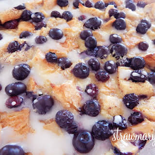 Lemon Blueberry Bread Pudding with Lemon Glaze.