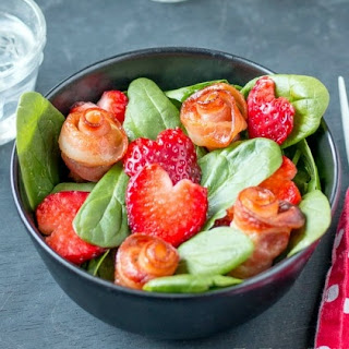 Baby Spinach with Bacon Roses and Strawberry Hearts.