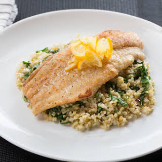 Meyer Lemon-Glazed Catfish with Ginger Collard Green & Cracked Freekeh Salad.