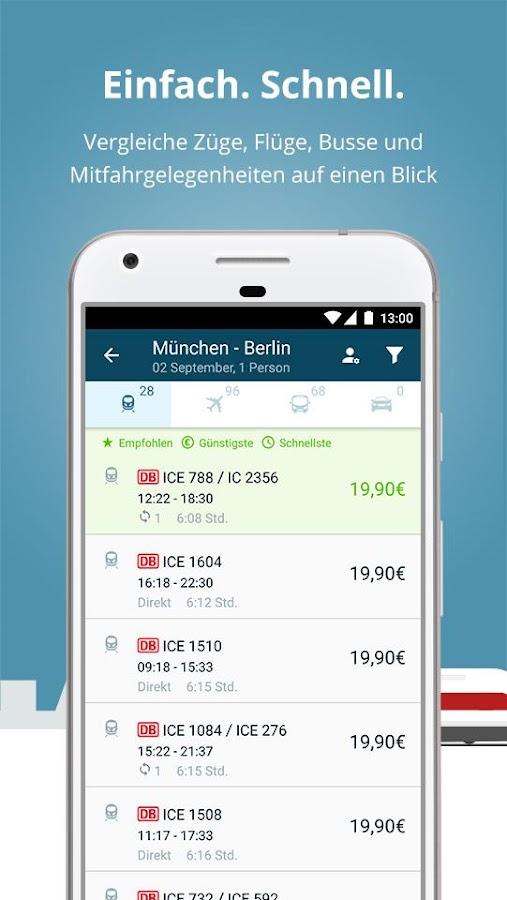 fromAtoB: Buche Bahn Bus Flug Mitfahrgelegenheit – Android ...  fromAtoB: Buche...