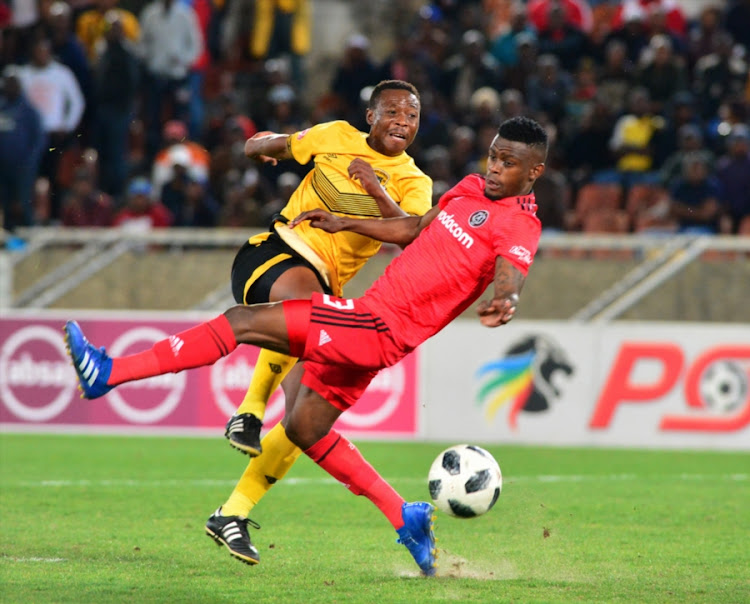 Innocent Maela of Orlando Pirates and Karabo Tshepe of Black Leopards during the Absa Premiership match between Black Leopards and Orlando Pirates at Peter Mokaba Stadium on August 28, 2018 in Polokwane, South Africa.